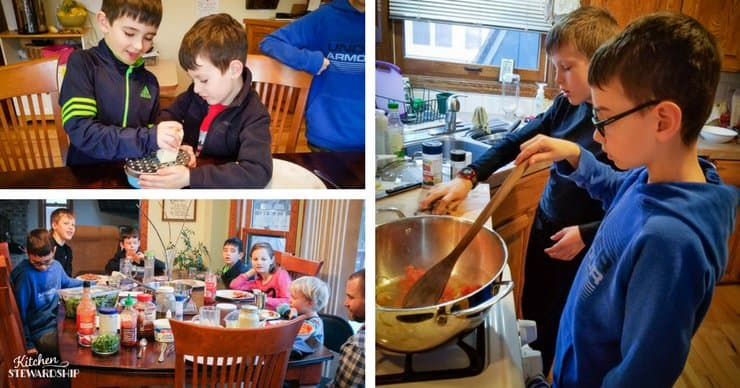 Kids cooking together, grating cheese, stirring on the stove and eating their Mexican creations together.