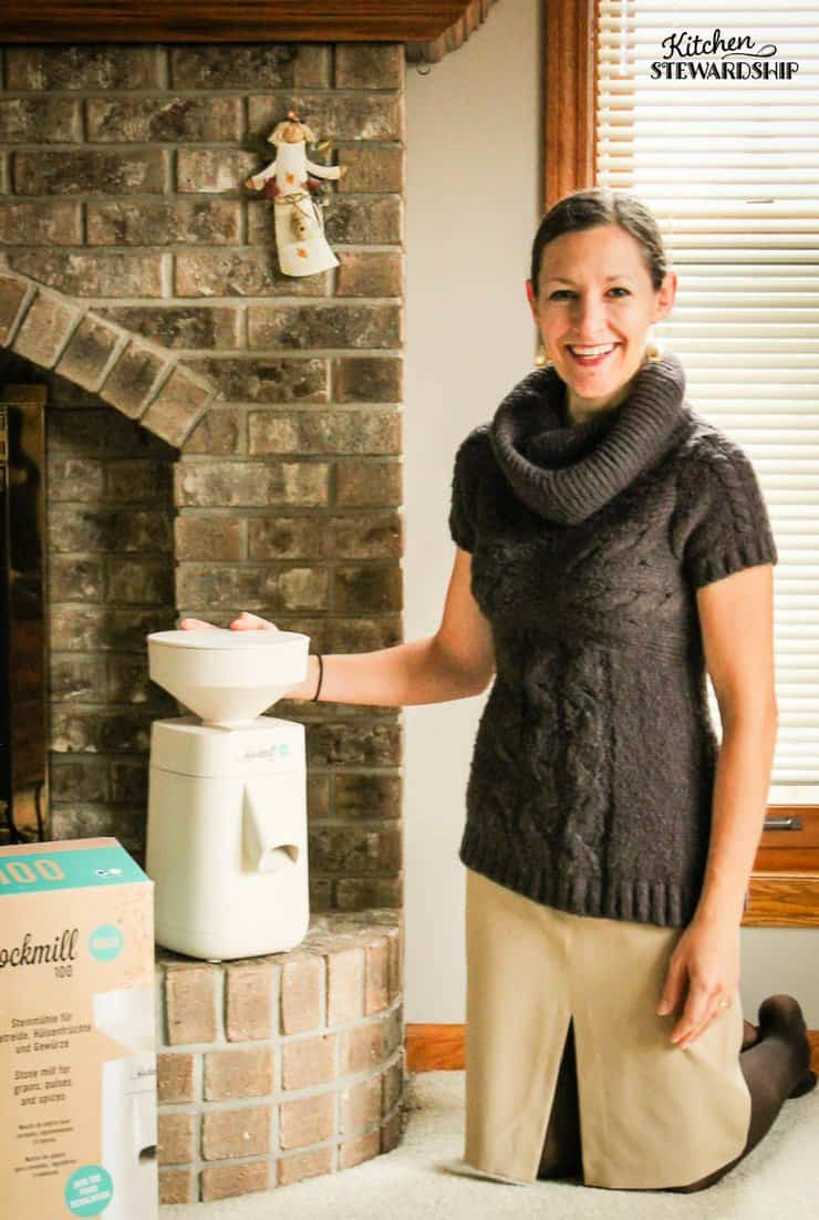 Katie Kimball from Kitchen Stewardship unboxing the Mockmill grain mill.