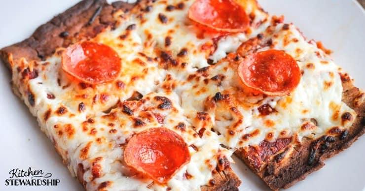 whole grain buckwheat gluten-free pizza on a plate