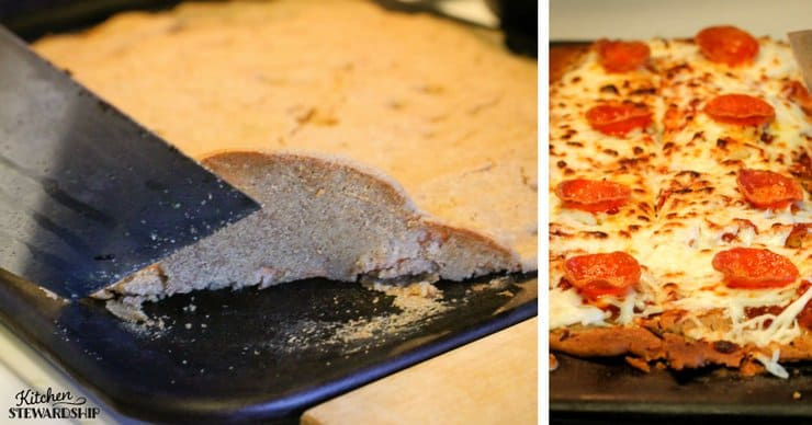 whole grain buckwheat gluten-free pizza showing the brown crust cooking
