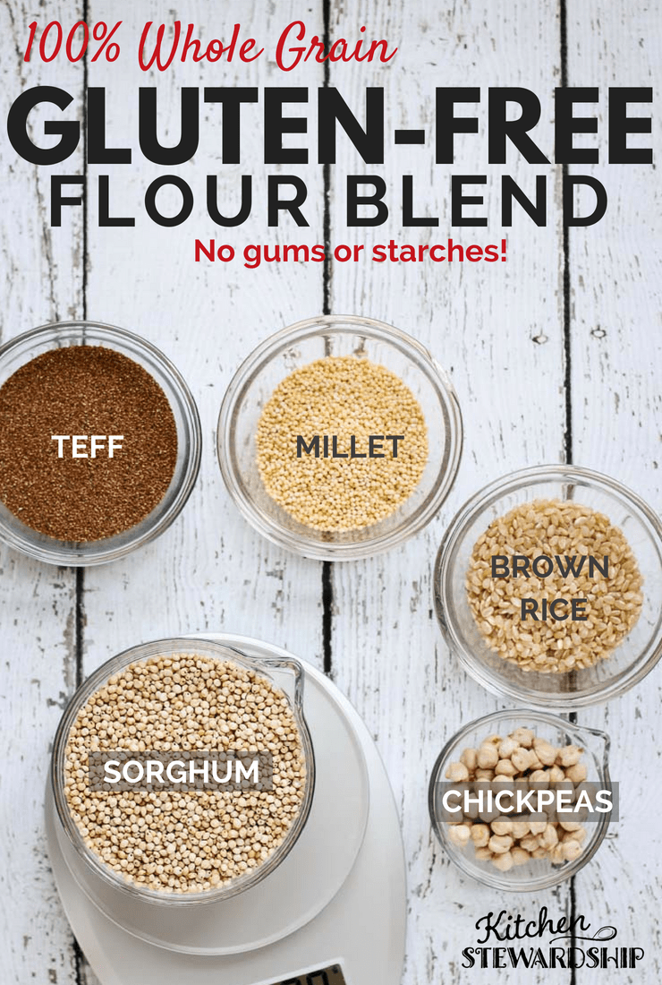 Grains for 100% whole grain gluten free flour blend in bowls.