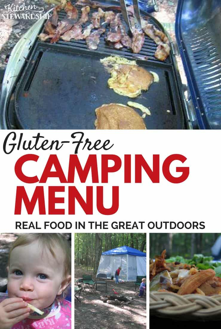 Gluten-free camping meal plan. Grilling breakfast, gluten-free pancakes and bacon. Gluten free chicken dinner.