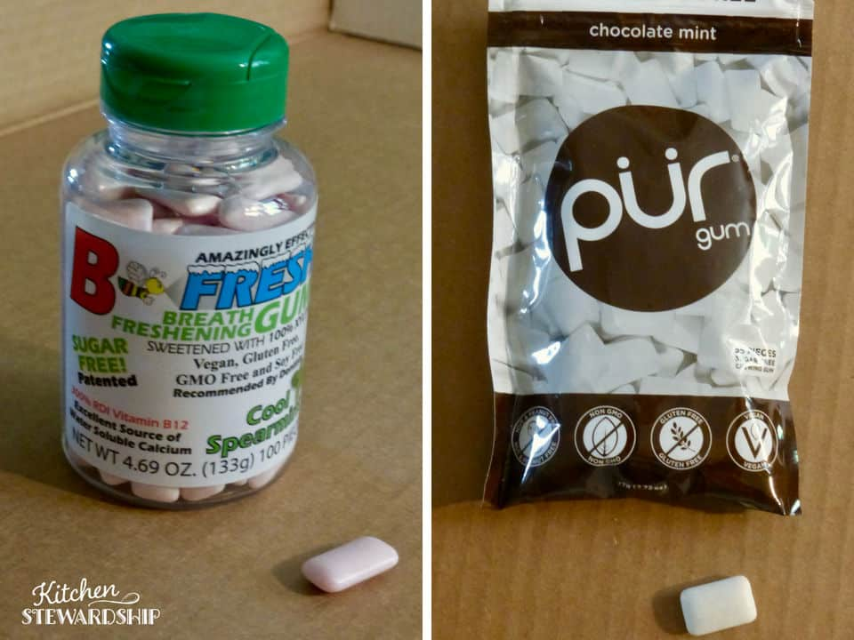 Bottle of B-Fresh and bag of Pur xylitol chewing gums.