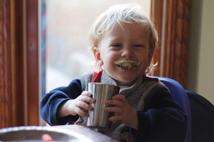 boy with healthy smoothie mustache