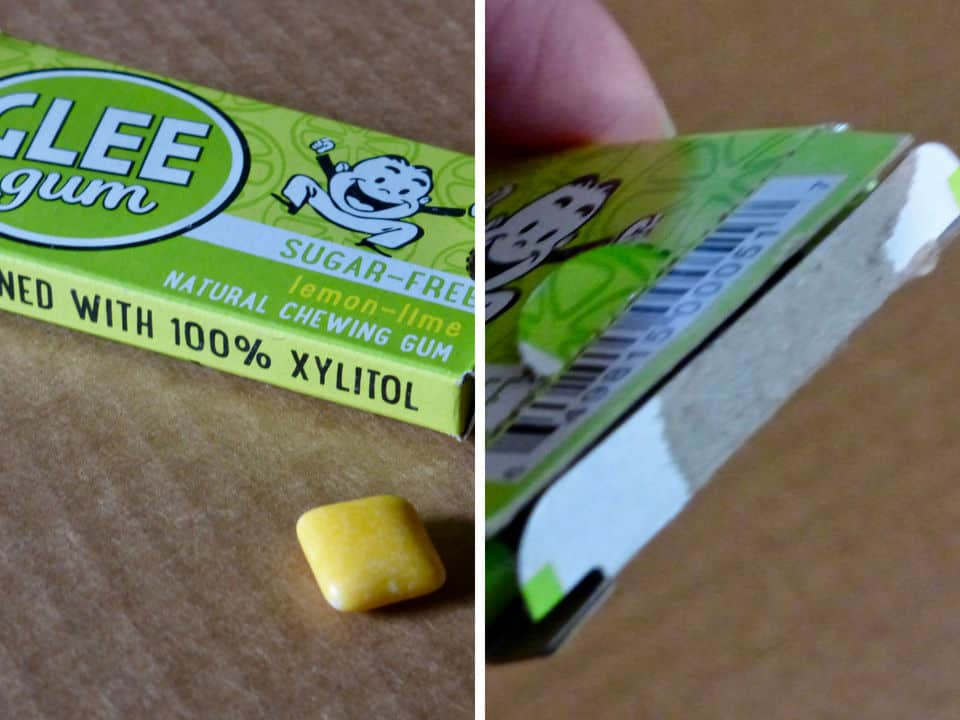 Glee xylitol chewing gum and showing how the box doesn't easily close.