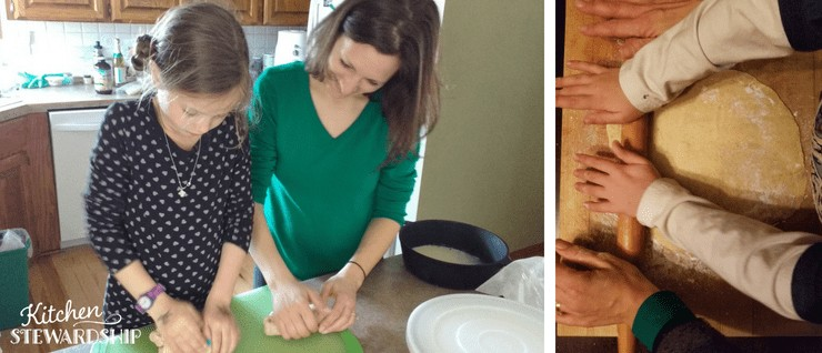 kids rolling dough to learn to cook and eat healthy foods