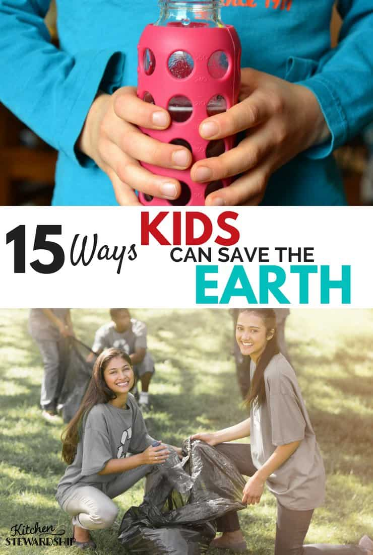 Kids cleaning up trash in a park and using a glass reusable water bottle.