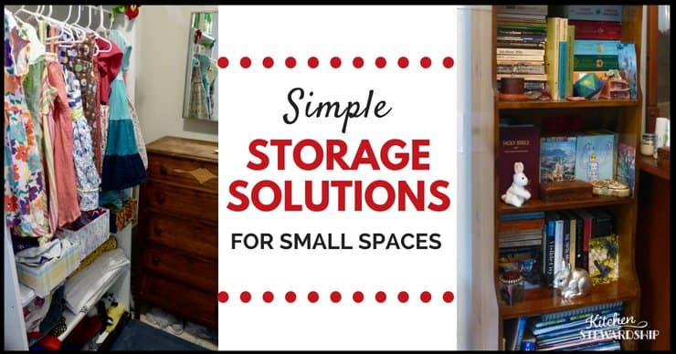 Finding more space in a small home, using a shelving unit as a closet and stacking books creatively.