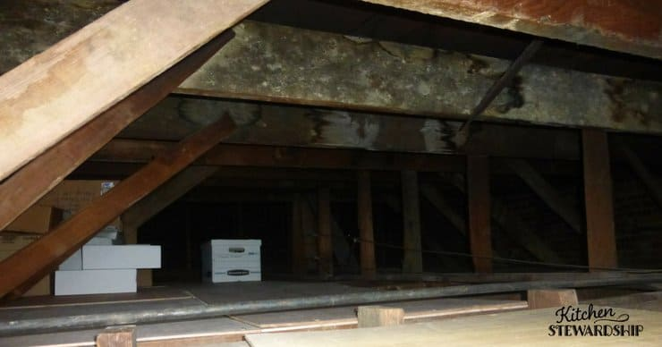 Attic space being used for extra storage.