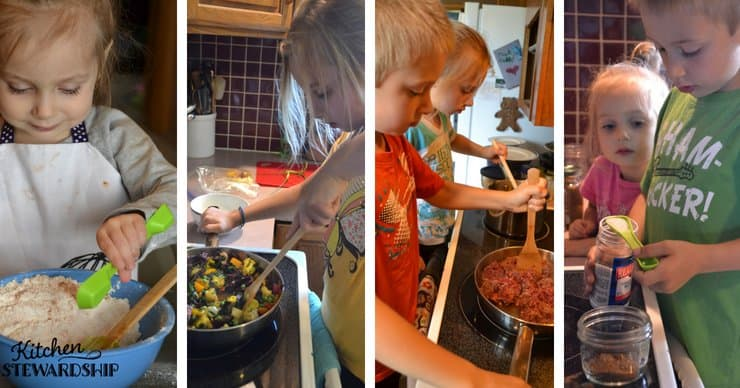 Kids in the kitchen helping to cook full meals.