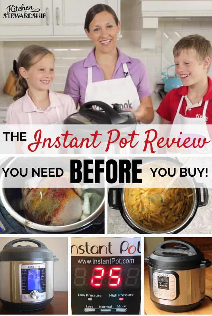Katie Kimball showing Instant Pot to kids, Instant Pot cooking chicken and soup, various Instant Pot models. The Instant Pot Review You Need Before You buy