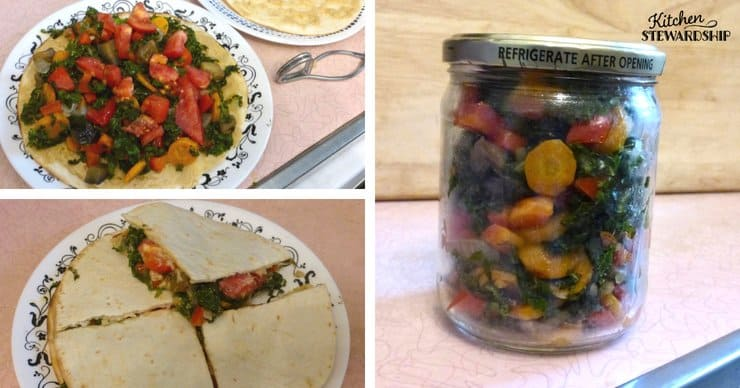 Cooked vegetables in a jar used in a homemade quesadilla.