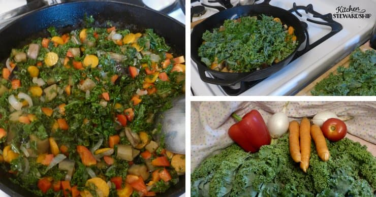 cooking vegetables; kale, tomato, carrots, onion and red bell pepper.
