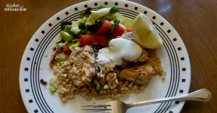 Using CSA vegetables in dinner; salad, and chicken over couscous