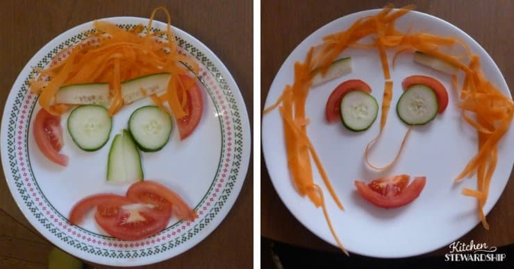 Using fresh vegetables to make kid-friendly smiling salads.