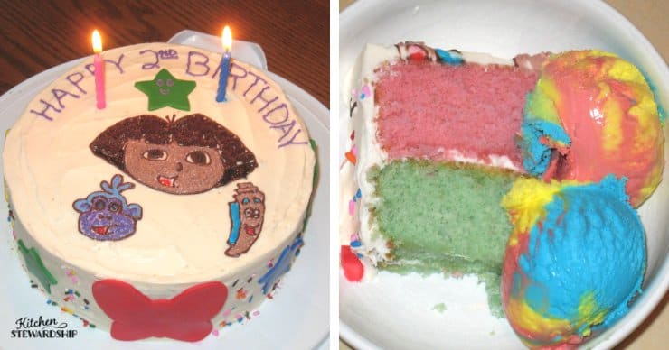 Dora 2nd birthday cake with rainbow ice cream - food dyes, especially red dyes in food, have been linked to problematic behavior issues in children.