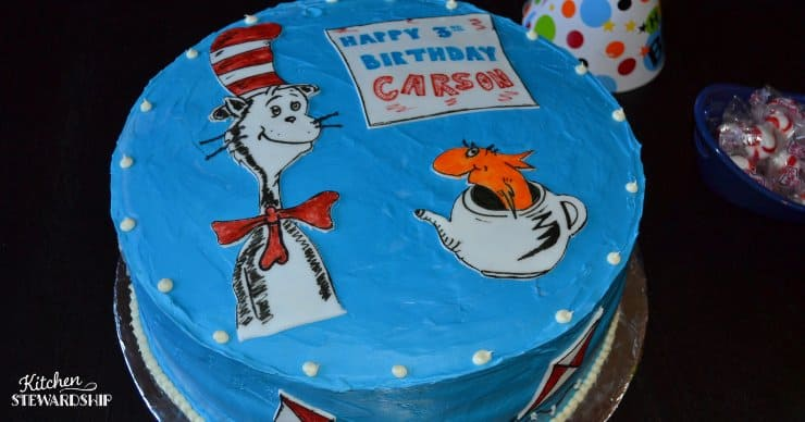 Dr. Suess birthday cake with bright blue frosting