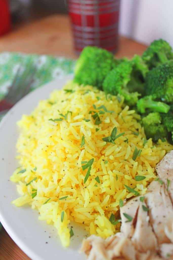 yellow rice and broccoli
