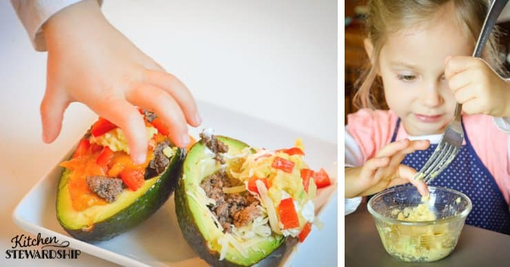 Toddler girl making Easy Grain-Free Avocado Taco Bowls