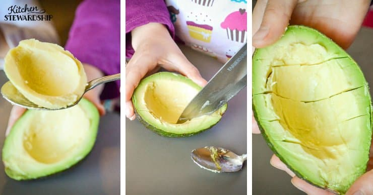 Girl slicing up an avocado