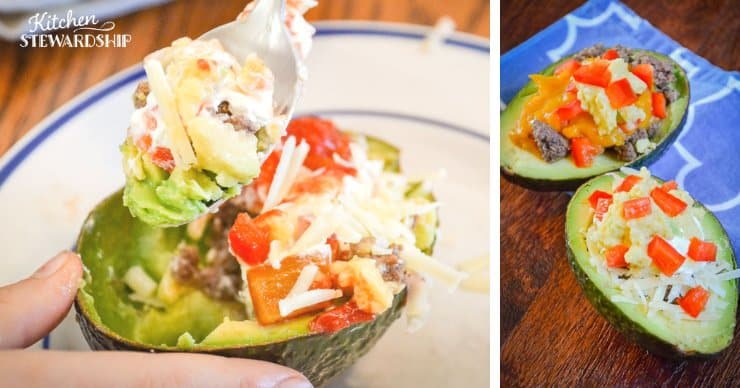 Easy Grain-Free Avocado Taco Bowls: avocado with meat, cheese and red peppers