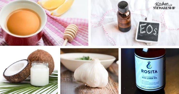 honey, essential oils, coconut oil, garlic and cod liver oil.