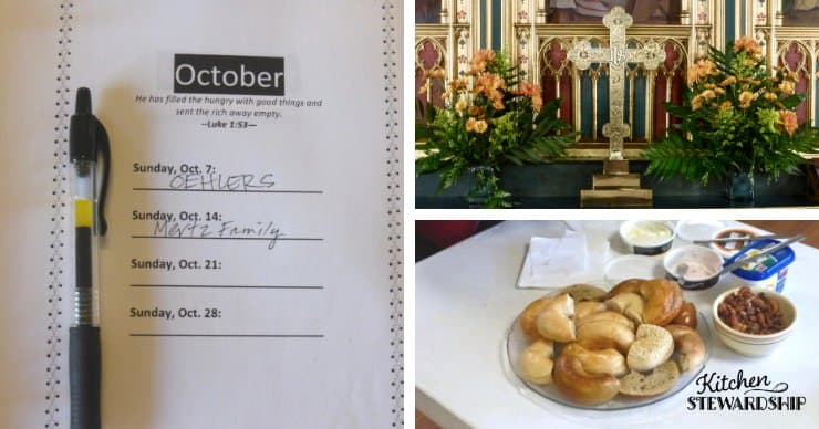 food sign up sheet and bagels