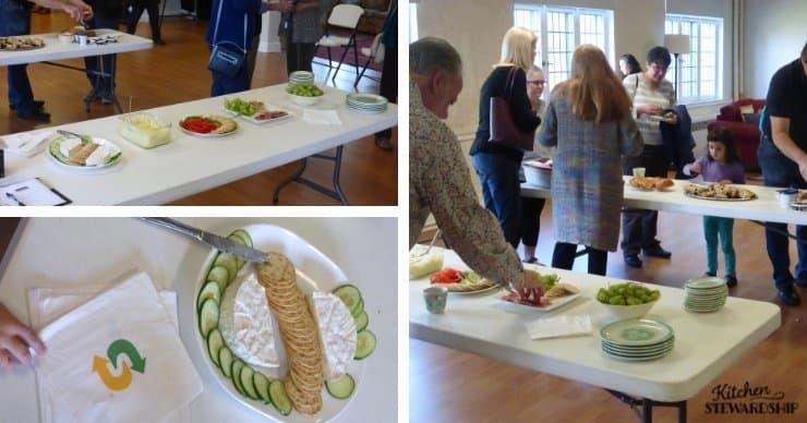 church potluck, tables of food.