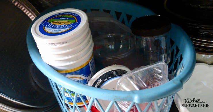 containers for leftovers in a basket
