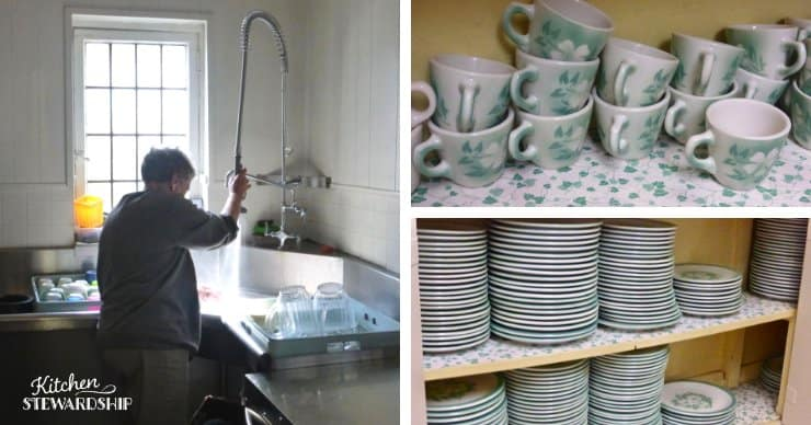 washing dishes and stacks of glass mugs and plates.