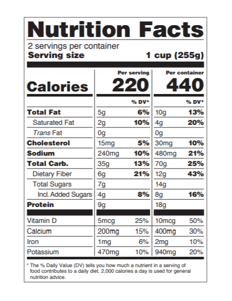 New serving size labels for nutrition facts