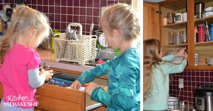 kids putting away dishes