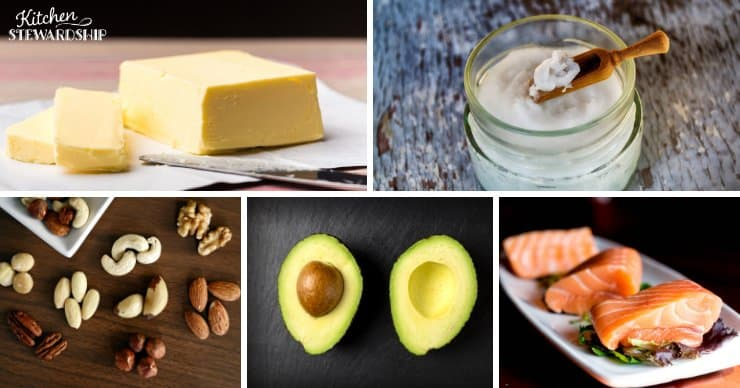 Different kinds of healthy fats; grass-fed butter, coconut oil, nuts, avocado, salmon