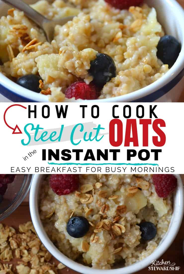 bowl of instant pot steel cut oatmeal with berries