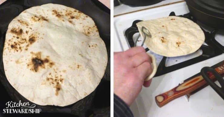 heating up tortillas