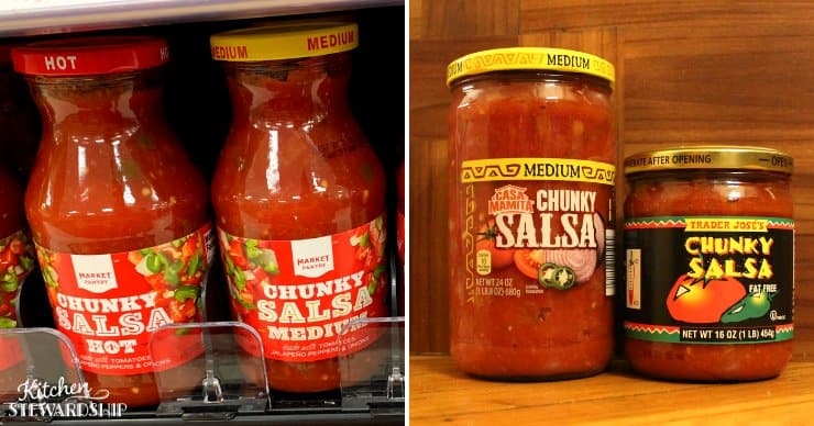 Salsa in glass jars