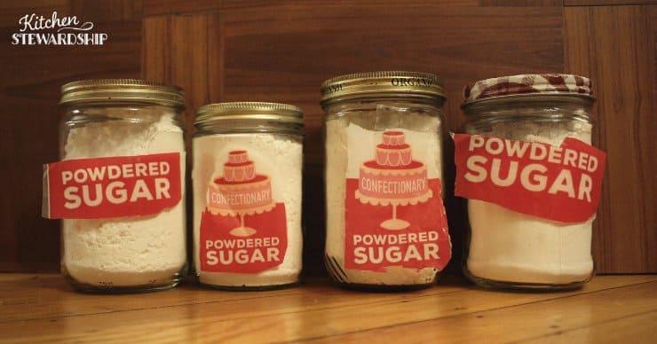 Food stored in reused grocery store jars