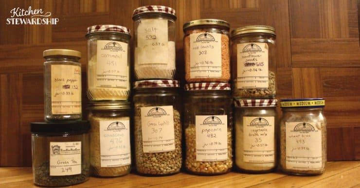 Bulk food stored in reused grocery glass jars