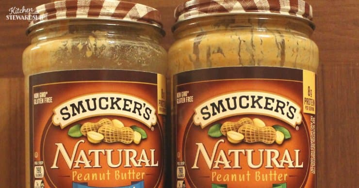 Peanut butter stored in glass jars