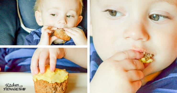 one-year-old eating parsnip cupcakes
