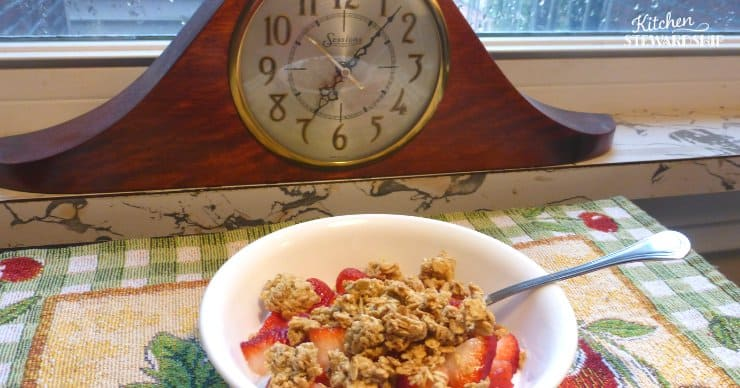 Granola in front of a clock
