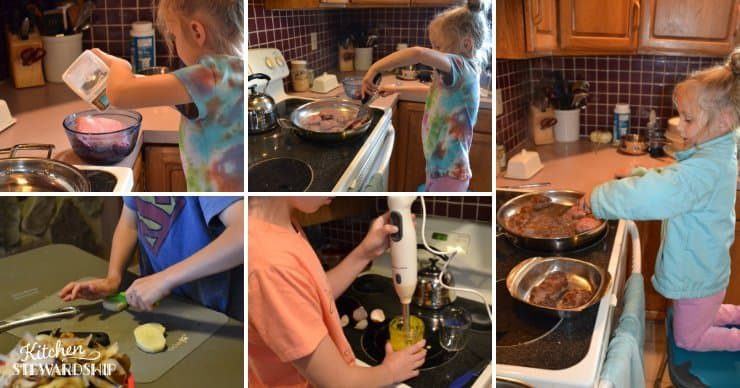 Kids cooking potato salad