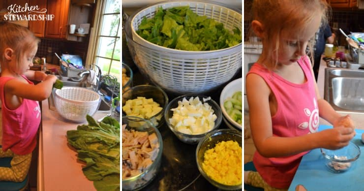 Kid preparing salad ingredients