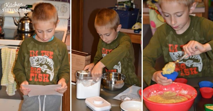 Kid making muffins