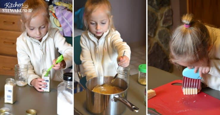 Child mixing seasonings and slicing cheese