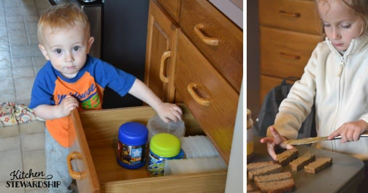 Toddler playing with cups and older child spreading sunbutter on bread