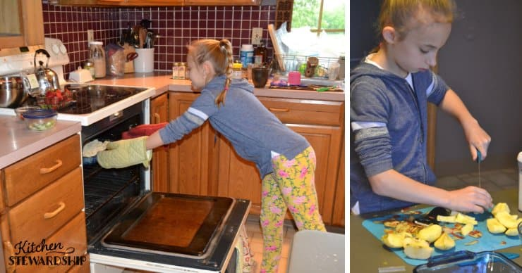 Kid using the oven and chopping apples safely