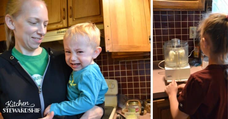 Toddler crying at a food processor