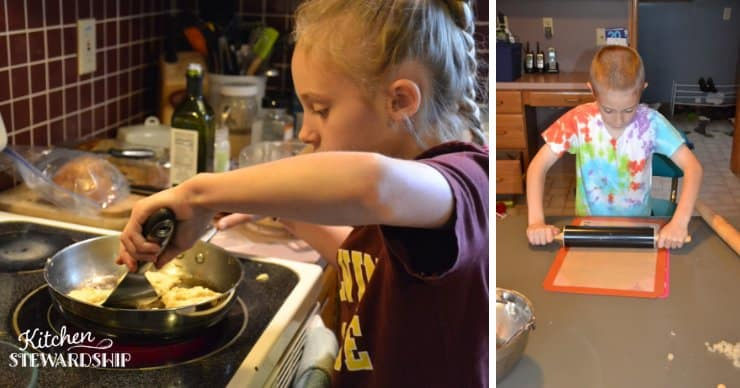 Kids cooking chickpea patties and graham crackers