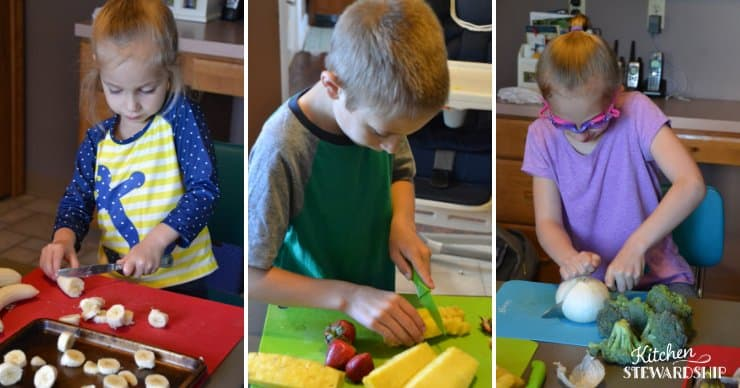 Kids learning how to use knives